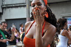Candomble Festival Kisses. A woman blows a kiss at a Candomble festival in Uruguay Royalty Free Stock Photography