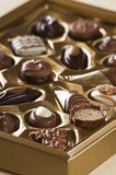 Candy. Sorted chocolate candies in a box close up Stock Photo