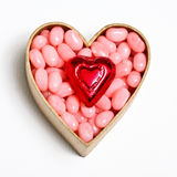 Candy. With hearts inside paper heart box Royalty Free Stock Image