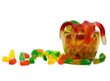 Candy. Gummy worms, gummy bears, and candy corn in a glass jar Stock Photography