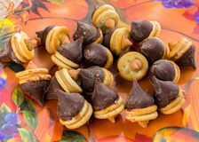 Candy acorns. Acorns made from peanut butter little round crackers and chocolate kisses and white chocolate drops, good snack for all of them Halloween Stock Image