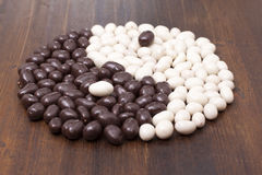 Candy almonds in chocolate whit Stock Photo