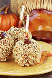 Candy Apples. With caramel sauce and a basket of apples in the background stock images