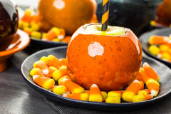 Candy apples. Handmade orange candy apples for Halloween Stock Photography