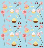 Candy background. Seamless background with lollipops cupcakes and candies Stock Photo