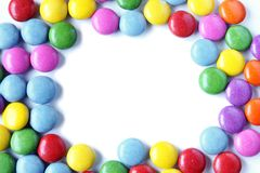 Candy background. With copy space isolated on white Stock Photos
