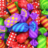 Candy background, 3D rendering. 3D visualization of multi-colored candy wrapper, 3D rendering Stock Images