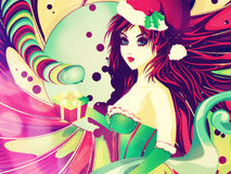 Candy background with Santa girl vector illustration