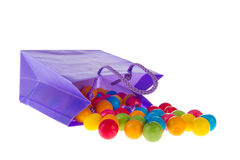 Candy bag with chewing gum balls Royalty Free Stock Photography