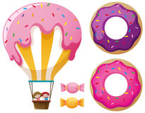 Candy balloon and donuts. Illustration Royalty Free Stock Images