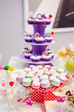 Candy Bar. With biscuits, macarons and cupcakes Royalty Free Stock Photos