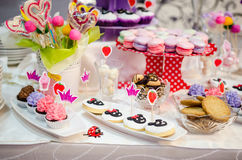 Candy Bar. With biscuits, macarons and cupcakes royalty free stock images