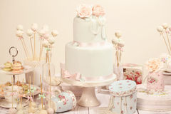 Candy bar. Cake,macaroons and cake pops in a Candy bar Stock Image