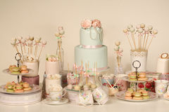 Candy bar. With cake, macaroons and cake pops Royalty Free Stock Photo