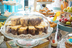 Candy bar with cake, macaroons and cake pops. Royalty Free Stock Image