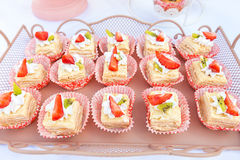 Candy bar cakes with strawberries Stock Photo