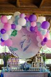 Candy bar on a child`s birthday. Decor with unicorns on the girl. `s holiday royalty free stock images