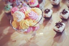 Candy bar. Closeup with cupcakes Royalty Free Stock Photos