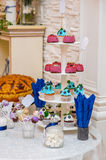 Candy bar with cupcakes Dessert table on wedding dinner Stock Image
