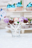 Candy bar with cupcakes Dessert table on wedding dinner Stock Photography