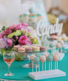Candy Bar. Cute candy bar with various candies and cakes Royalty Free Stock Images