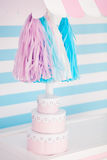 Candy bar. Decor for baby`s or child`s Birthday party. Pink, blue and white colors stock image