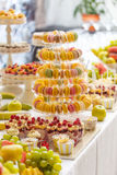 Candy bar dessert table. Delicious wedding reception candy bar dessert table Stock Photography