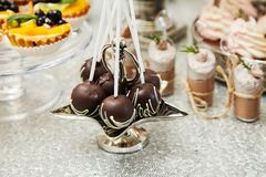 Candy bar. Festive table with deserts,  tartlets stock image