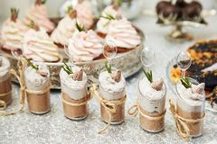 Candy bar. Festive table with deserts,  tartlets stock photography