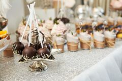 Candy bar. Festive table with deserts,  tartlets royalty free stock photography