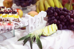 Candy bar with fruits and cakes Royalty Free Stock Photography