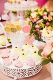Candy bar on girls. Candy bar on children`s birthday decor for girls royalty free stock photography