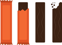 Candy Bar. Isolated chocolate candy bars with and without wrapper Royalty Free Stock Image