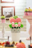 Candy bar. With lollipops and cupcakes Royalty Free Stock Photo