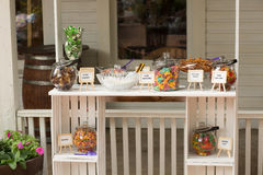 Candy Bar. Made from painted crates with assorted fish themed treats royalty free stock photography