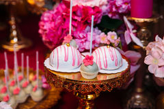 Candy bar marshmallow on the table in a vase, a plate in pink, macaroon, cake and cupcake, holiday, birthday, decoration Stock Photography
