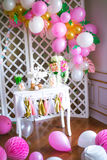 Candy bar in pink colors for a children`s party Royalty Free Stock Photo