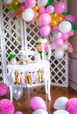 Candy bar in pink colors for a children`s party Royalty Free Stock Photos