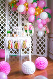 Candy bar in pink colors for a children`s party Stock Photo