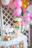 Candy bar in pink colors for a children`s party Stock Photography