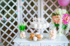 Candy bar in pink colors for a children`s party Royalty Free Stock Image
