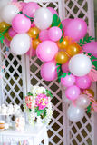 Candy bar in pink colors for a children`s party Royalty Free Stock Images