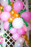 Candy bar in pink colors for a children`s party Stock Photos