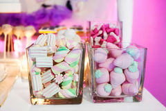 Candy Bar and sweet buffet. With marshmallows Stock Images