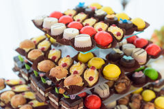 Candy bar. Sweet and delicious wedding candy bar Stock Photography
