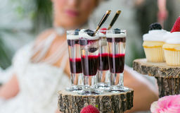 Candy bar table. Decorated wedding table with candy bar Royalty Free Stock Photos
