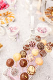 Candy bar table. Delicious wedding candy bar table Royalty Free Stock Images
