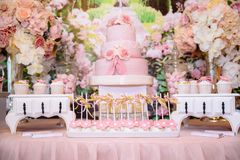 Candy bar and wedding cake. Table with sweets, buffet with cupcakes, candies, dessert. Royalty Free Stock Image