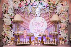 Candy bar. Table with sweets, candies, dessert. Candy bar. Table with sweets, candies desserts Stock Photo