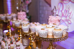 Candy bar. Table with sweets, candies, dessert. Candy bar. Table with sweets, candies desserts Stock Photography